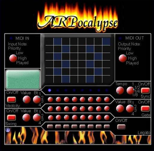 Wiz ARPocalypse, a freeware 8 step rhythmic pattern generator VST