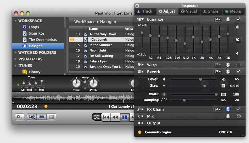 MachineCodex Neutrino, media player for Mac gets various