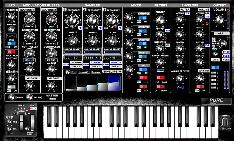 TubeOhm Pure-D 16/24B, a virtual synthesizer plug-in for Windows PC