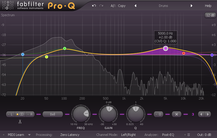 review of fabfilter pro q a top quality precision eq plug in with both zero latency and linear. Black Bedroom Furniture Sets. Home Design Ideas