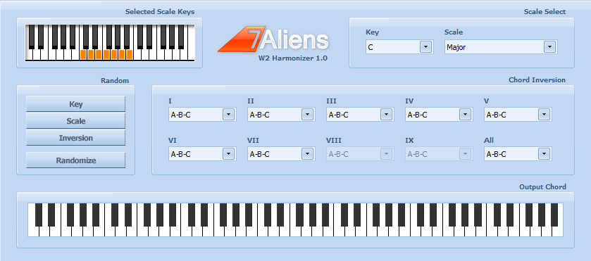 W2 Harmonizer, scale based MIDI harmonizer plug-in by 7Aliens