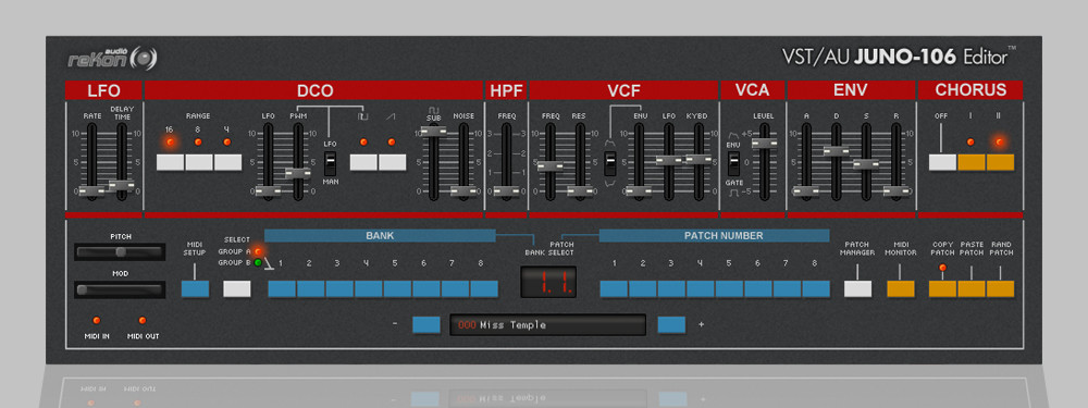 Rekon Audio Vst Au Juno 106 Editor Software Updated To V1 2 0