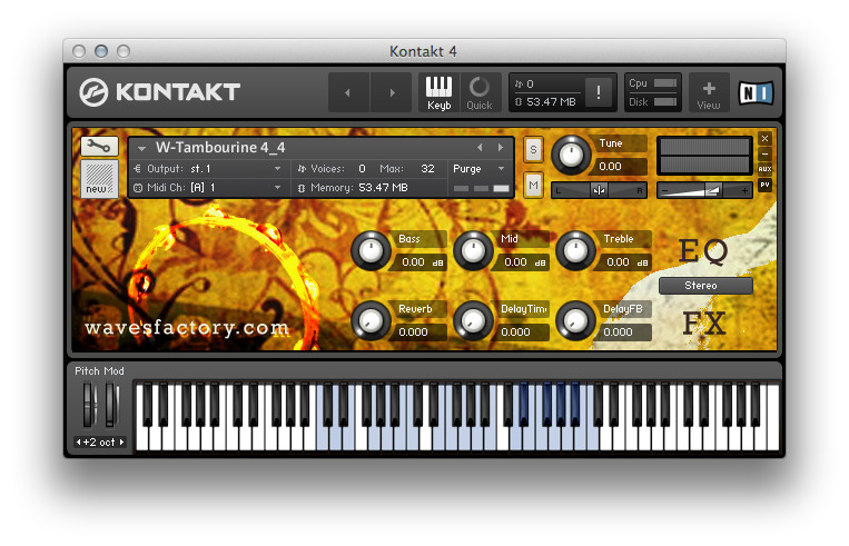 Wavesfactory W-Tambourine, tambourine sample library for Kontakt