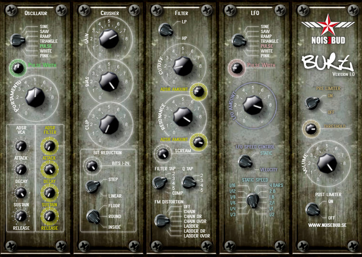 Noisebud Burt freeware VST synth instrument