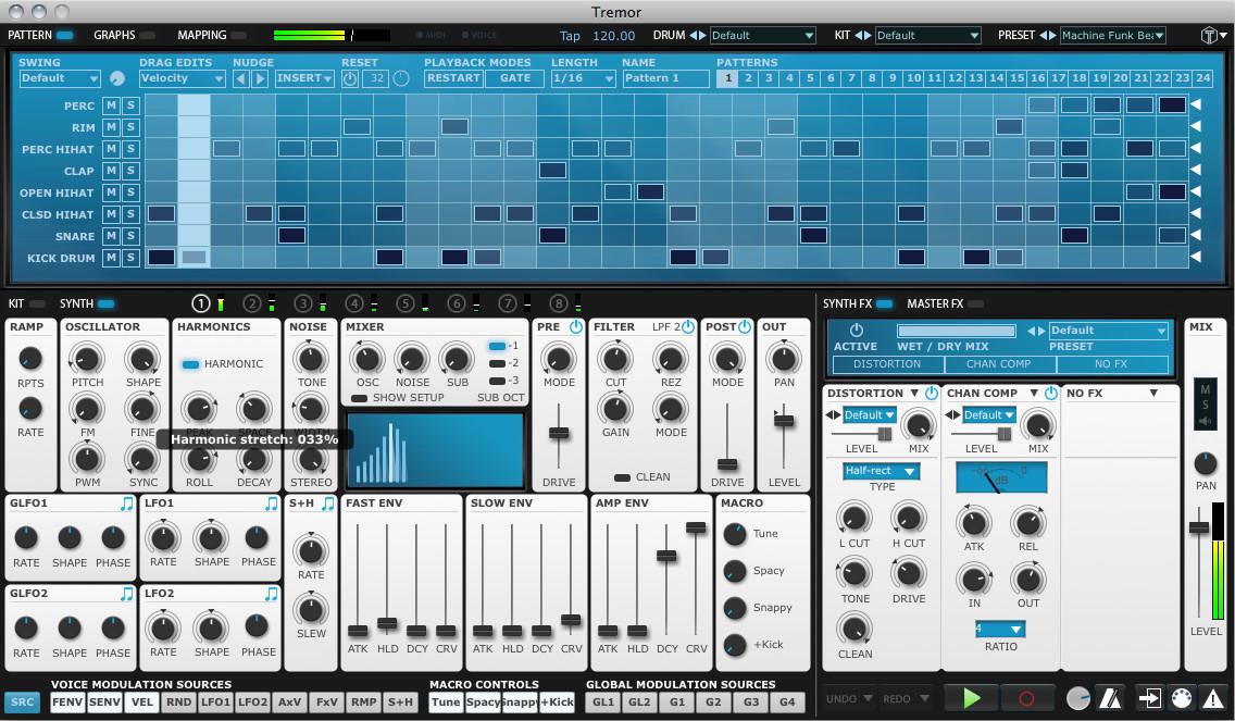 fxpansion tremor software drum machine for pc and mac. Black Bedroom Furniture Sets. Home Design Ideas