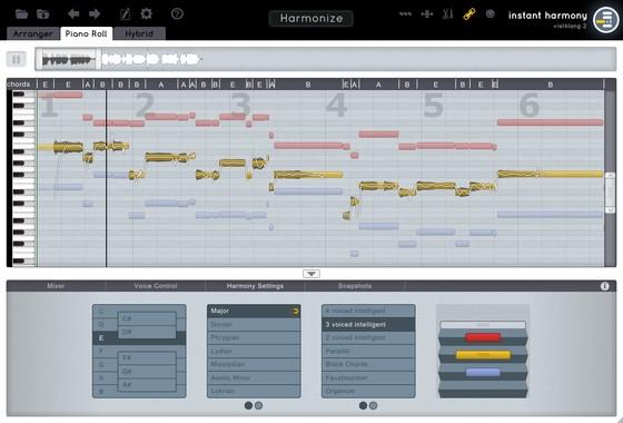 zplane vielklang Instant Harmony V2 - Piano roll
