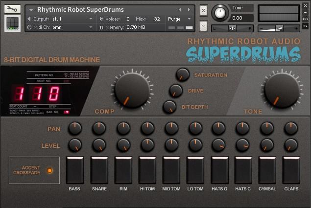 rhythmic robot superdrums drum machine sample pack featuring korg ddm 110. Black Bedroom Furniture Sets. Home Design Ideas