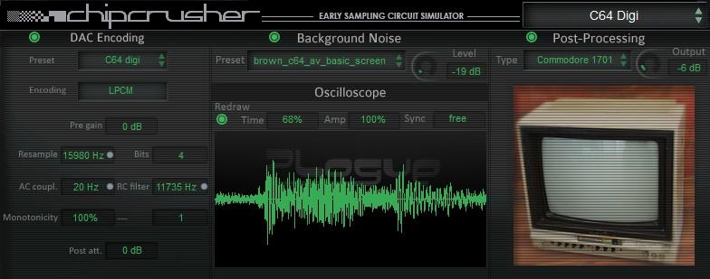 Plogue Chipcrusher bitcrusher, speaker simulator & noise
