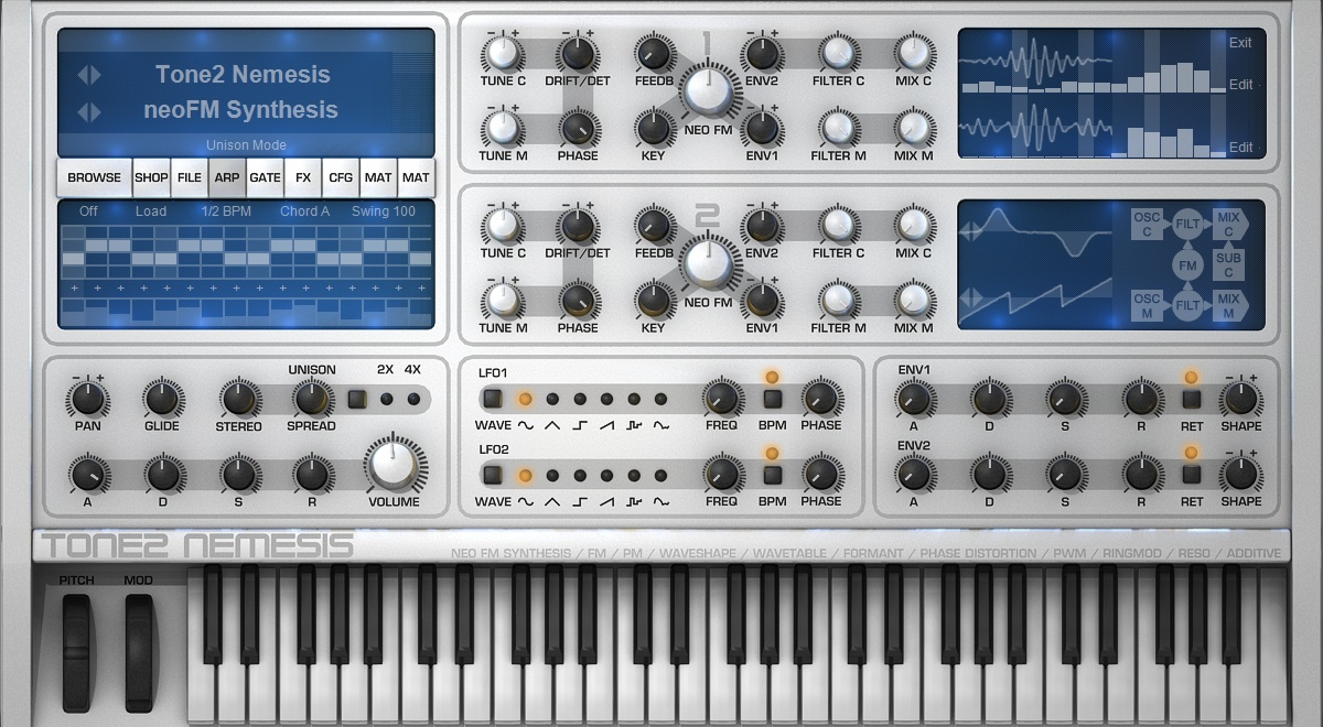 Tone2 Nemesis NeoFM synthesizer plugin for Windows and Mac