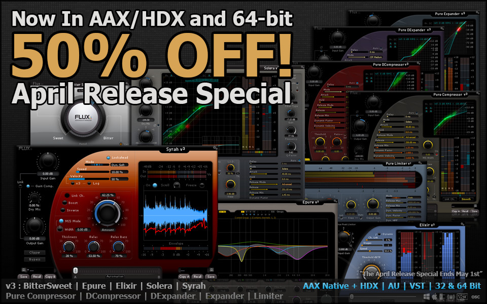 Flux AAX HD-X for Flux Series plugins now available + 50% off