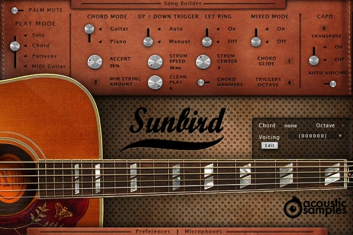 Sunbird acoustic guitar library released by Acousticsamples