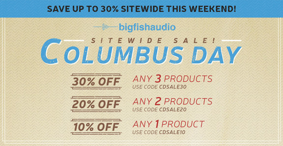 Big Fish Audio Columbus Day Sale