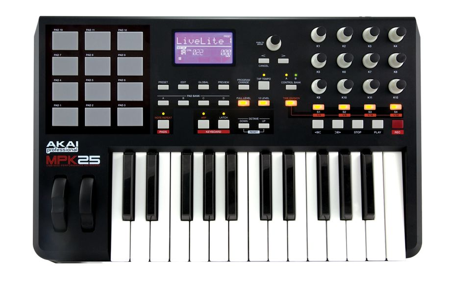 akai mpk 25 25 key keyboard controller with mpc pads. Black Bedroom Furniture Sets. Home Design Ideas