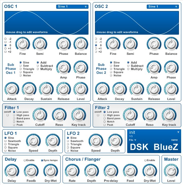 DSK BlueZ (beta), a freeware VST instrument for Windows PC