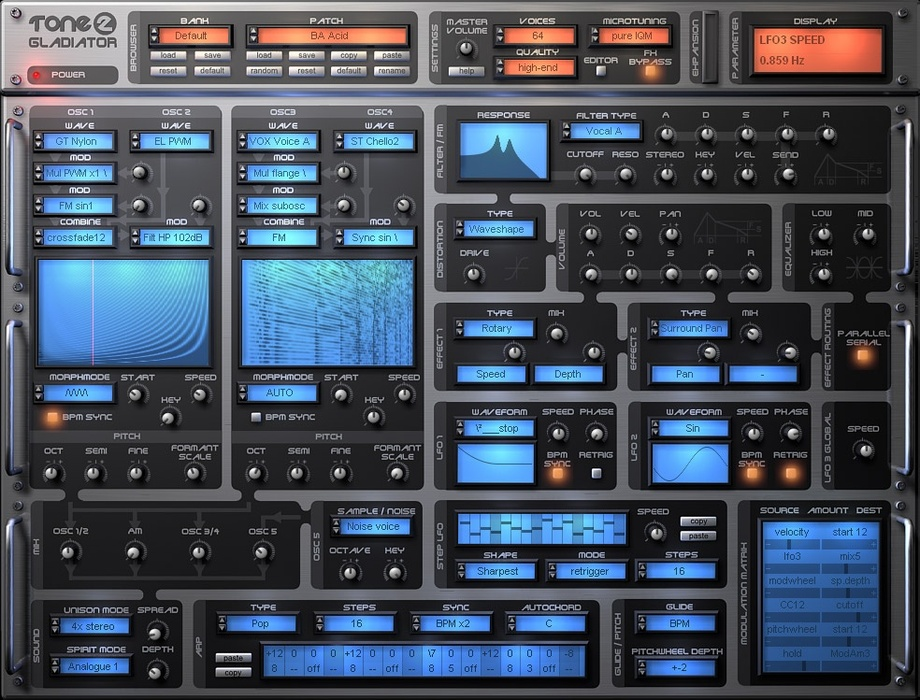 gladiator by tone2 synth plugin featuring harmonic content morphing. Black Bedroom Furniture Sets. Home Design Ideas