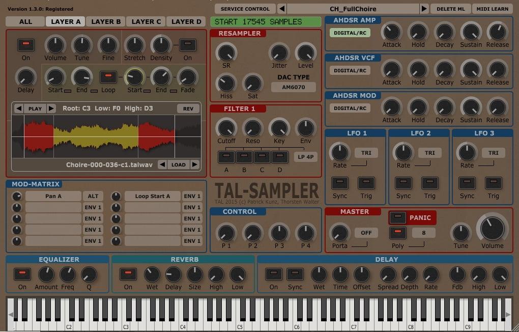 TAL-Sampler & TAL-Reverb-4 by Togu Audio Line