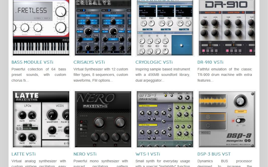 MaxSynths VST plugins now freeware