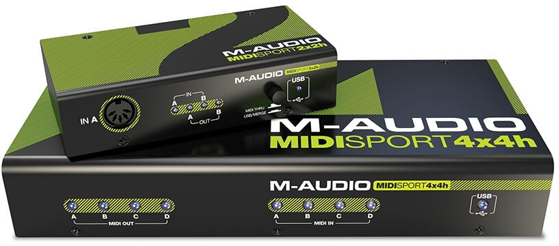 m audio midisport hub 2x2 and 4x4 midi interfaces. Black Bedroom Furniture Sets. Home Design Ideas