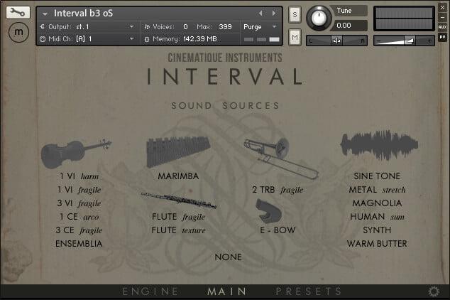 Cinematique Instruments Interval sound sources