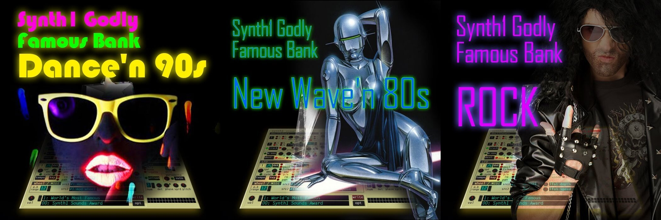 Dance'n 90s, New Wave'n 80s & Rock soundsets for Synth1
