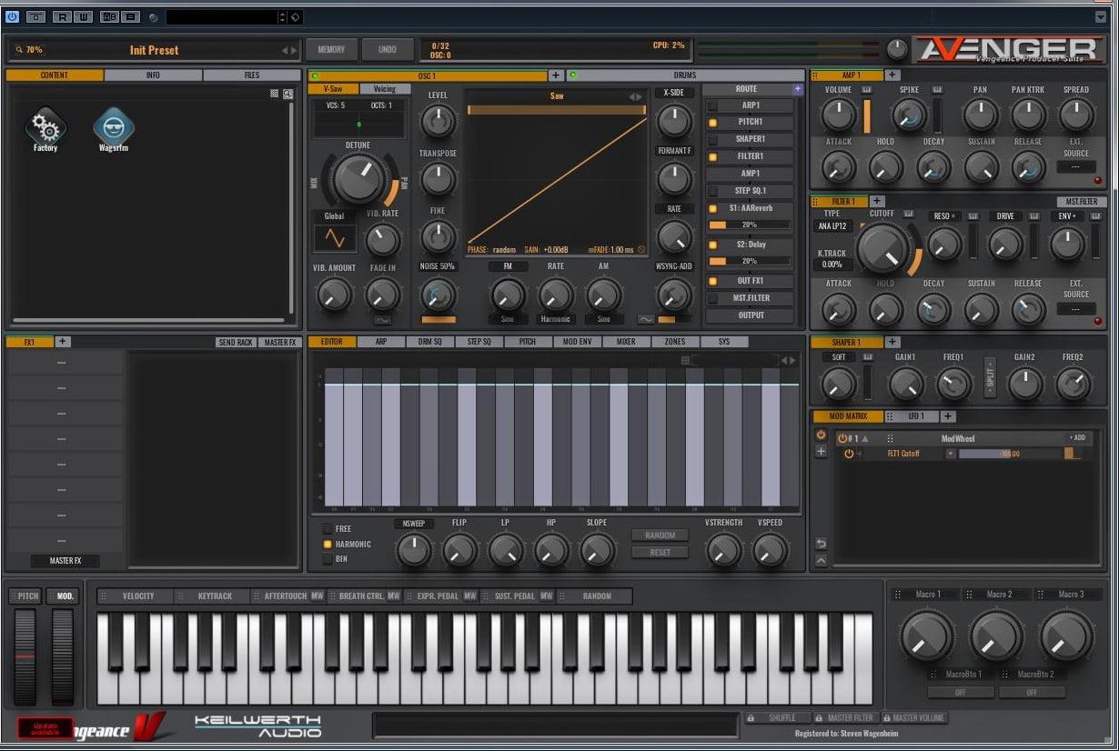 Vengeance Sound updates VPS Avenger synthesizer to v1 1 0