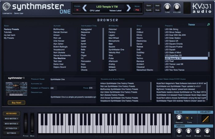 KV331 Audio SynthMaster One update