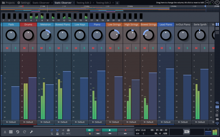 Tracktion Waveform Mix Pan Zoom screen