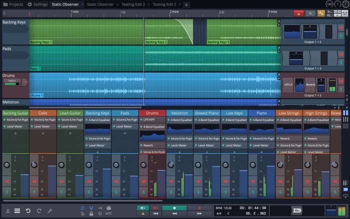 Tracktion Waveform Mixer Classic combo screen