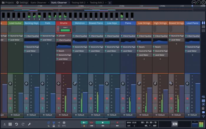 Tracktion Waveform Mixer screen 1