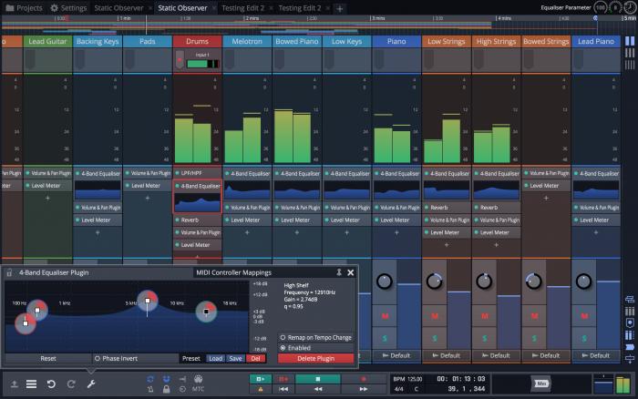 Tracktion Waveform Mixer wEQ screen