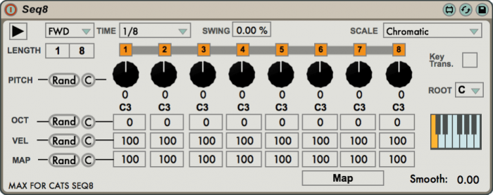 Max for Cats MSE Synthesizer System Editor SEQ8