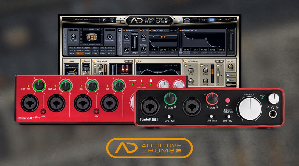 get free addictive drums 2 with purchase of focusrite and novation devices. Black Bedroom Furniture Sets. Home Design Ideas