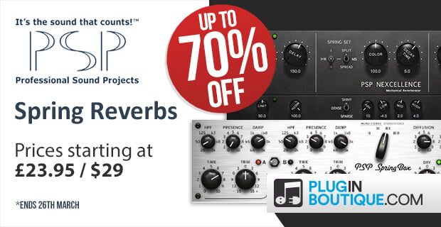 Save up to 70% off on PSP SpringBox and Nexcellence reverb