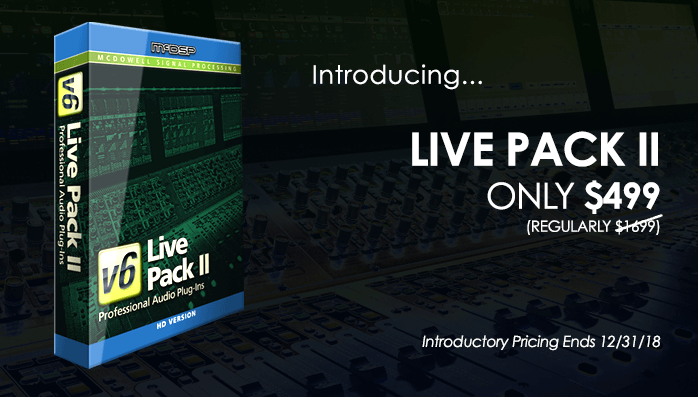 McDSP releases Live Pack II Bundle for Avid VENUE S6L