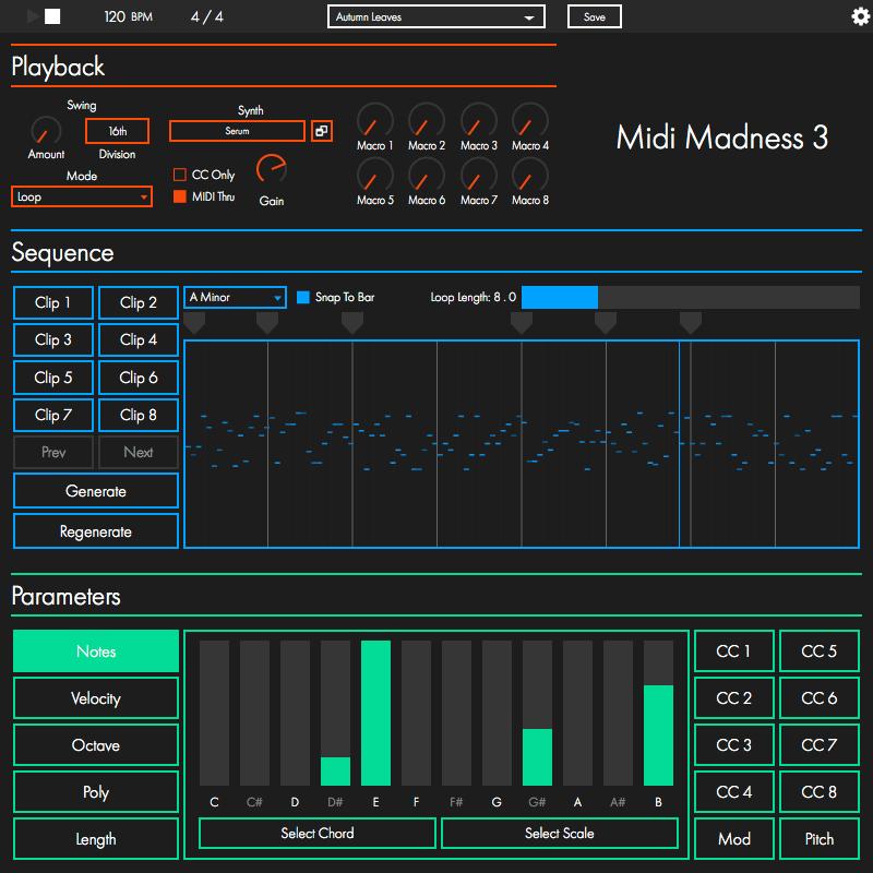 MIDI Madness algorithmic MIDI generator plugin updated to v3 0 5