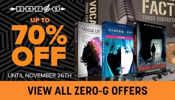 Save up to 70% off Zero-G virtual instruments & sample