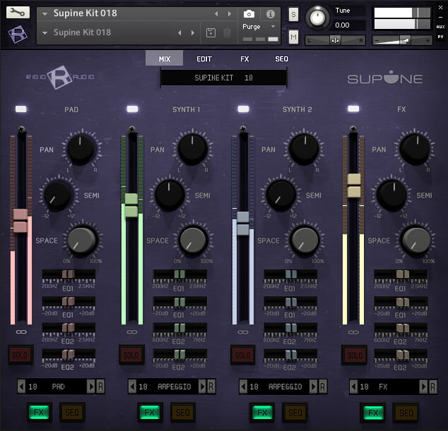 Ridig Audio Supine mix page