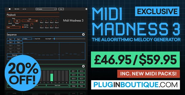 Midi Madness 3 algorithmic melody generator on sale for