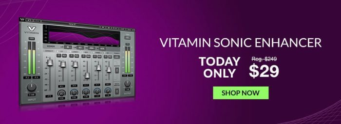 Waves Vitamin Sonic Enhancer plugin on sale for $29 USD today only!