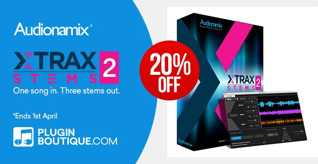 Audionamix XTrax Stems 2 audio separation software on sale at 20% OFF