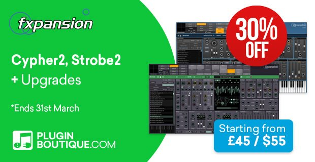 Get 30% OFF FXpansion Strobe2 and Cypher2 synths