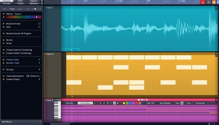 Tracktion Waveform10 actions panel