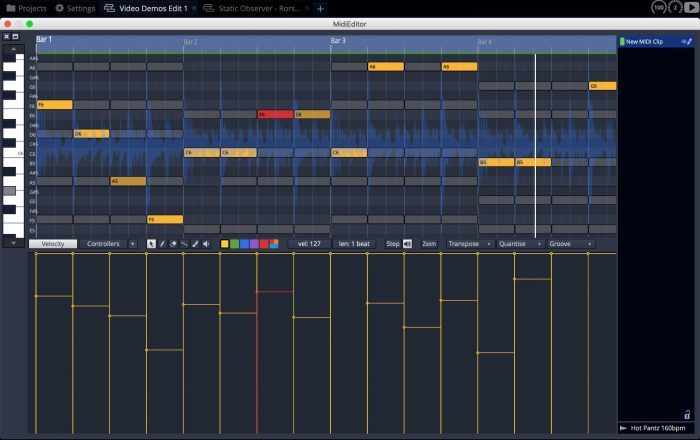 Tracktion Waveform10 midi editor