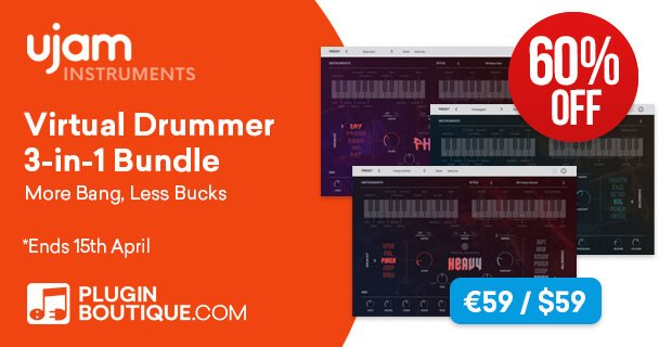 UJAM's Virtual Drummer Bundle is 60% OFF until April 15th