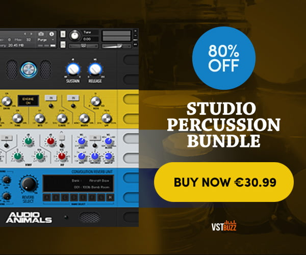 Get 80% off Studio Percussion Bundle by Audio Animals at VST Buzz