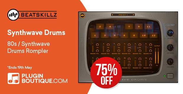 Synthwave Drums 80s drum sound plugin on sale for $19 USD!