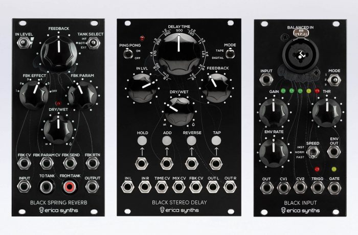 Erica Synths Black Spring Reverb, Stereo Delay & Black Input