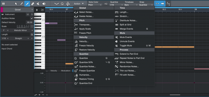 PreSonus Studio One 4.5 Music Editor Note Actions