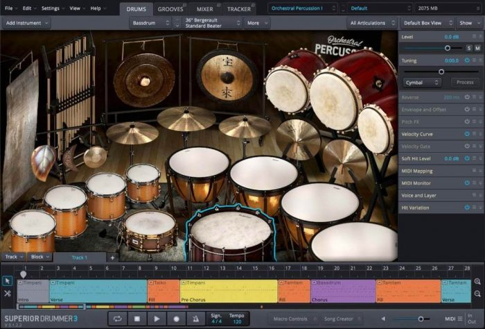 Toontrack Orchestral Percussion SDX GUI 01