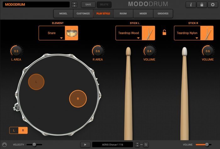 modo drum play style snare